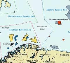 Расположение спорной территории. Карта с сайта barentsobserver.com