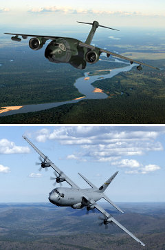 KC-390 (сверху) и C-130J. Фото с сайта defenseindustrydaily.com