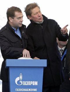 """Президент РФ Дмитрий Медведев и председатель правления концерна """"Газпром"""" Алексей Миллер. Фото AFP"""
