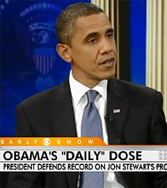 Барак Обама в гостях у Джона Стюарта. Кадр с сайта YouTube