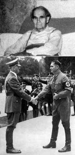 Рудольф Гесс в последние годы жизни / Гесс и Гитлер. Фото с сайта ww2gravestone.com