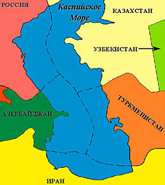 Карта Каспийского моря. Изображение с сайта poli.vub.ac.be  (Нажмите, чтобы увеличить)