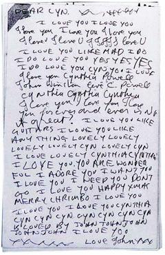 """Письмо Джона Леннона к Синтии. Предоставлено издательством """"Слово"""". Нажмите на картинку, чтобы увеличить"""
