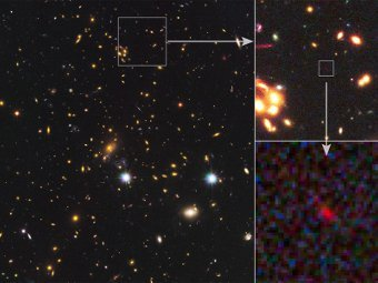 MACS 1149-JD. Фото NASA/Spitzer/Hubble