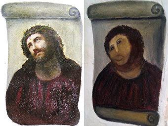 """Оригинальная и отреставрированная версии фрески """"Ecce Homo"""". Фото (c)AFP"""