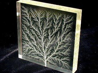 Пробой тока в органическом стекле образует фрактальную фигуру. Фото Tttrung/Wikicommons