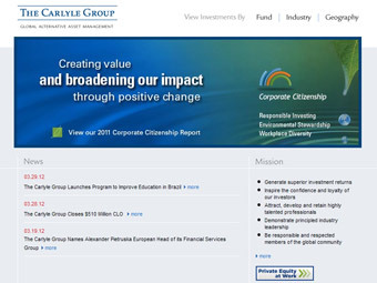 Скриншот сайта Carlyle Group