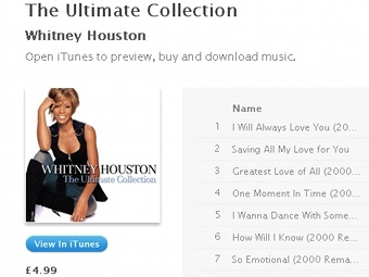 "Скриншот страницы альбома Уитни Хьюстон ""The Ultimate Collection"" на iTunes"