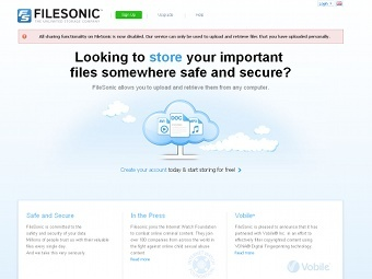 Скриншот сайта filesonic.com