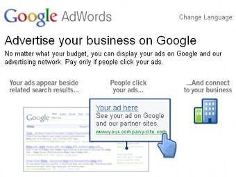 Скриншот сайта Google AdWords