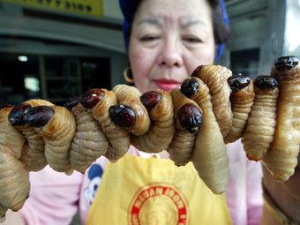 Жареные личинки жуков у уличной продавщицы в Таиланде. Фото (c)AFP