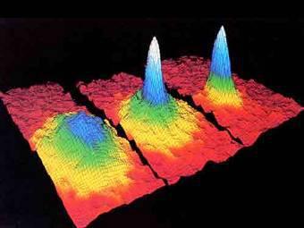 Распределение скоростей атомов в рубидиевом конденсате Бозе-Эйнштейна. Изображение NIST/JILA/CU-Boulder
