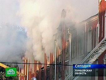 Пожар в тамбовской части спецназа ГРУ. Кадр телеканала НТВ