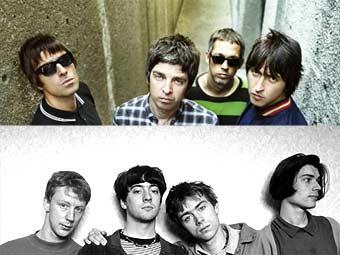Oasis (сверху) и Blur. Фотографии с официальных сайтов групп