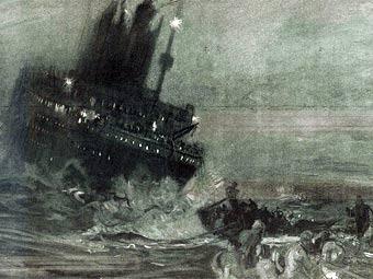 """Тонущий """"Титаник"""". Рисунок, созданный Генри Ройтердалем на основании радиосводок о катастрофе"""