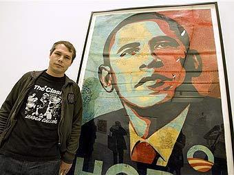 Шепард Фейри с портретом Обамы. Фото (c)AP