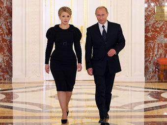 Юлия Тимошенко и Владимир Путин на переговорах в Москве. Фото с сайта премьер-министра России