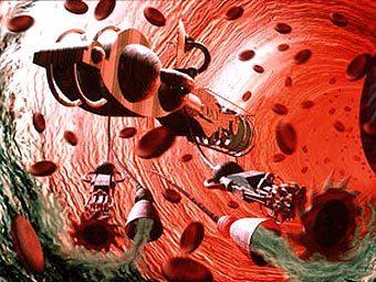 """Нанороботы """"хозяйничают"""" в кровеносном сосуде. Изображение с сайта azonano.com"""