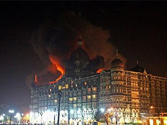 """Горящий отель """"Тадж Махал"""". Фото (c)AFP"""