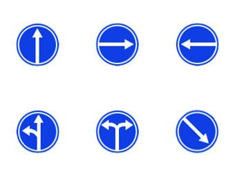 Предписывающие дорожные знаки. Изображение с сайта chainikam.net