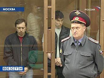 """Обвиняемые в убийстве Отари Квантришвили в зале суда. Кадр телеканала """"Россия"""""""