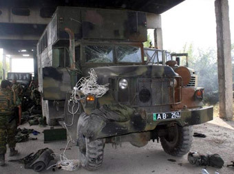 """Захваченный грузинский военный грузовик. Фото Аркадия Бабченко, предоставлено альманахом """"Искусство войны"""""""