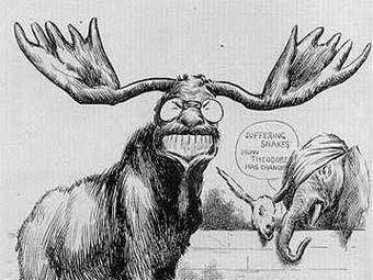 """""""Пополнение в политическом зоопарке"""", карикатура времен избирательной кампании 1912 года"""