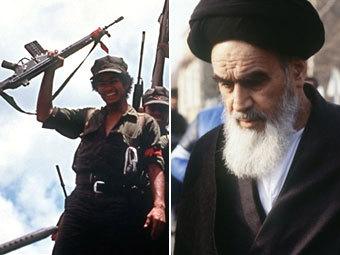 Никарагуанский герильеро и аятолла Хомейни. Архивные фотографии AFP