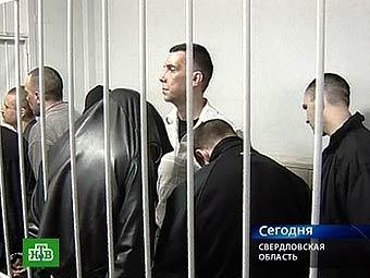 """Члены """"банды Чудинова"""" в зале суда. Кадр телеканала НТВ"""