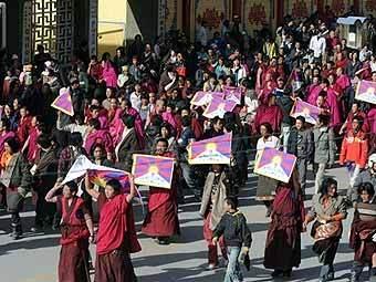Демонстрация буддийских монахов в Тибете. AFP