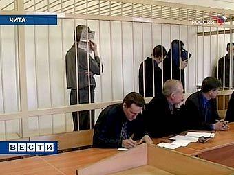 """Грабители читинского Сбербанка в зале суда. Кадр телеканала """"Россия"""""""