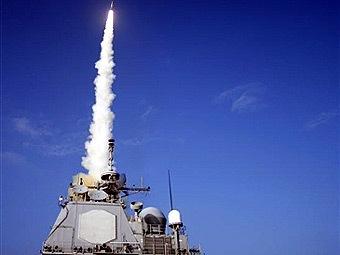 """Запуск ракеты SM-3 с борта """"Лейк Эри"""". Фото ВМС США, переданное AFP"""