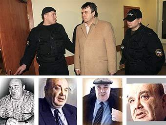 Владимир Некрасов под конвоем (сверху, фото AFP) и фотографии Семена Могилевича, переданные AFP