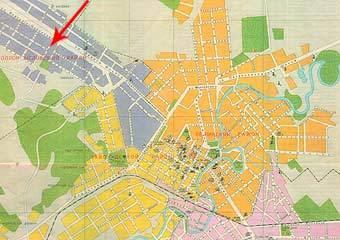 Карта Грозного с сайта grozny.vrcal.com. Красной стрелкой отмечено расположение переименованной улицы