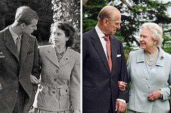 Принц Филип и Елизавета II в 1947 и 2007 годах. Фото AFP.