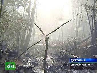 Место падения вертолета Ми-8. Кадр НТВ