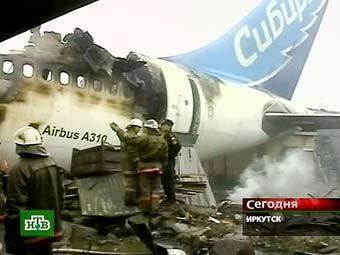 Обломки А-310 в Иркутске, кадр НТВ.