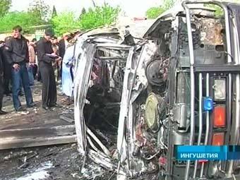 На месте теракта в Назрани. Кадр Первого канала