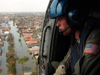 Вид на Новый Орлеан с военного вертолета, фото пресс-службы ВМС США