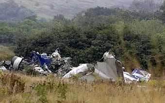 Обломки самолета Ту-154, упавшего в Ростовской области. Кадр телеканала НТВ.