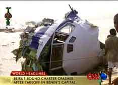 Обломки ''Боинга-727'' в Бенине, кадр CNN