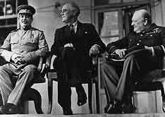 Сталин, Рузвельт и Черчилль в Тегеране, фото из World Book Multimedia Encyclopedia