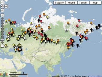 Скриншот карты исчезающих языков на территории РФ с сайта ЮНЕСКО