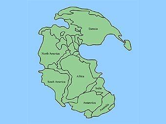 Карта древнего континента Пангеи. Иллюстрация пользователя Kieff с сайта en.wikipedia.org