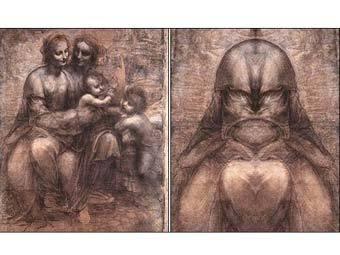 """Этюд """"Мадонна с младенцем, св. Анна, св. Иоанн"""" и """"лицо Бога"""", выявленное зеркалами. Иллюстрация с сайта mirrorandart.com"""