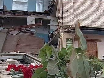 Последствия обрушения школы в Беляевке. Кадр телеканала НТВ