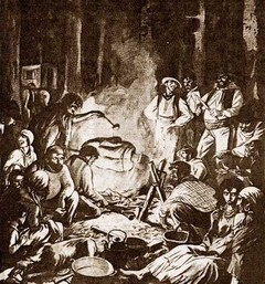 Картинка из французского развлекательного журнала, изображающая цыган во время приготовления человеческого мяса