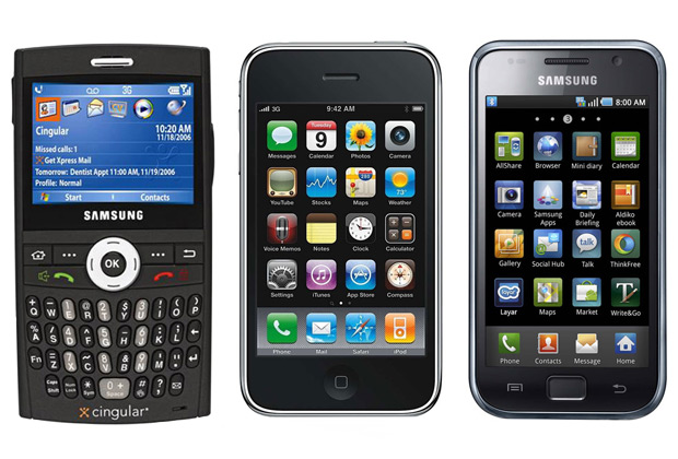 Эволюция Samsung в сравнении с Apple: Samsung Cingular, Apple iPhone 3GS, Samsung Galaxy S