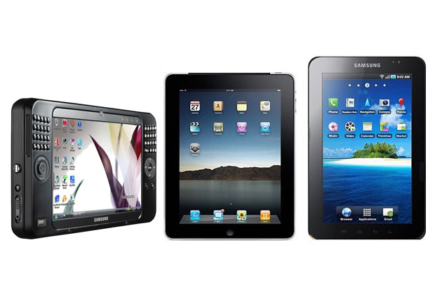 Эволюция Samsung в сравнении с Apple: Samsung Q1 Ultra Premium, Apple iPad 2 (2011 год), Samsung Galaxy Tab