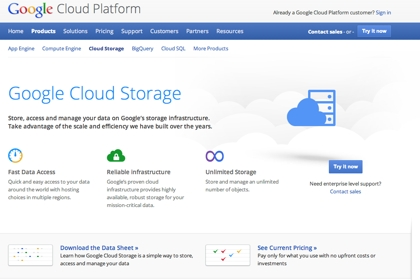 Сайт Google Cloud Storage